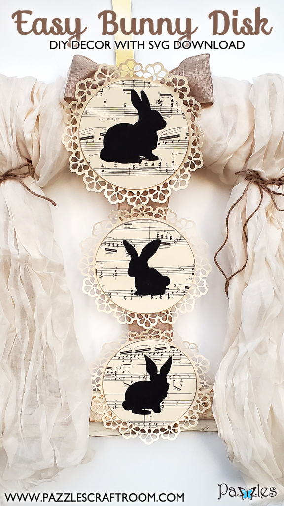 Pazzles DIY Easy Bunny Disks with instant SVG download. Instant SVG download compatible with all major electronic cutters including Pazzles Inspiration, Cricut, and Silhouette Cameo. Design by Renee Smart.