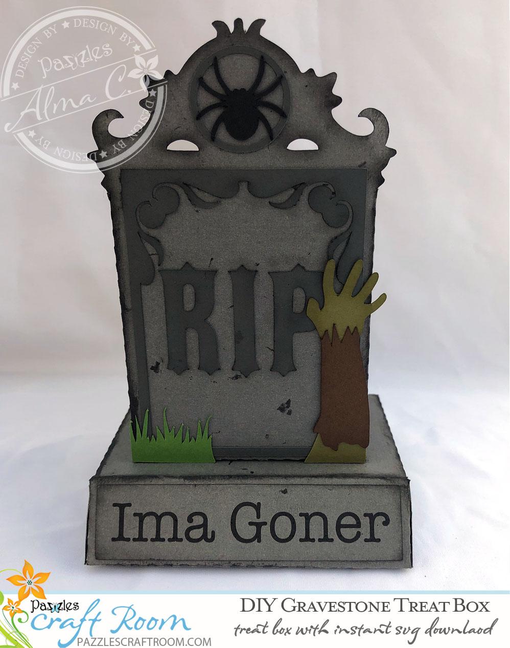 Pazzles Halloween DIY Gravestone Treat Box by Alma Cervantes