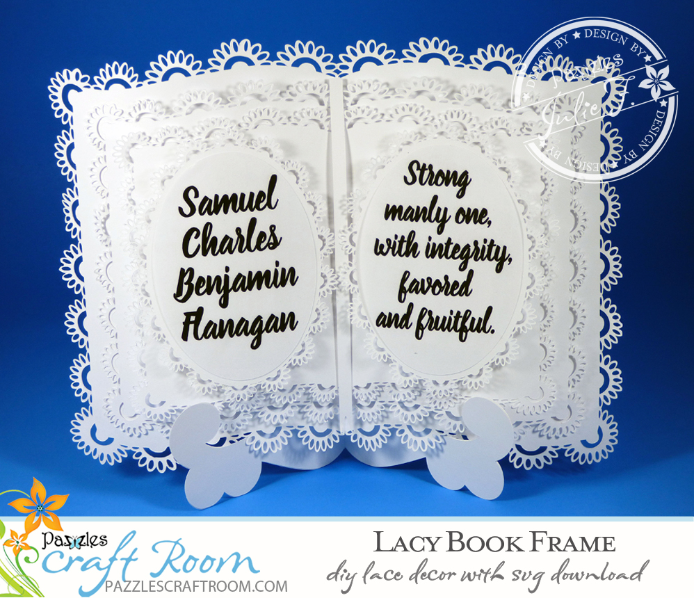 Pazzles DIY Lacy Book Frame and Easel with instant SVG download. Compatible with all major electronic cutters including Pazzles Inspiration, Cricut, and Silhouette Cameo. Design by Julie Flanagan.