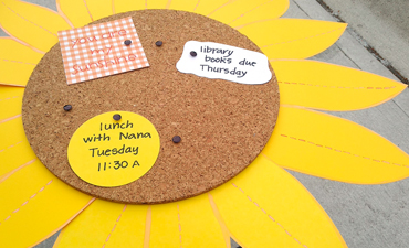 Pazzles DIY Sunflower Cork Memo Board with instant SVG download. Compatible with all major electronic cutters including Pazzles, Cricut, and Silhouette Cameo. Design by Renee Smart.