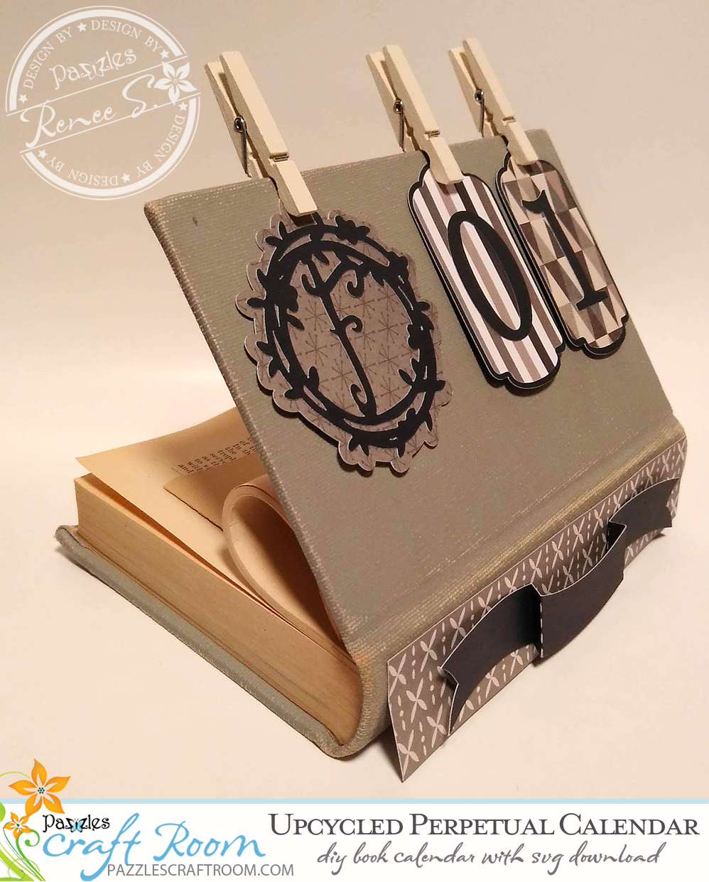 Pazzles DIY Upcycled Book Perpetual Calendar with instant SVG download. Compatible with all major electronic cutters including Pazzles Inspiration, Cricut, and Silhouette Cameo. Design by Renee Smart.