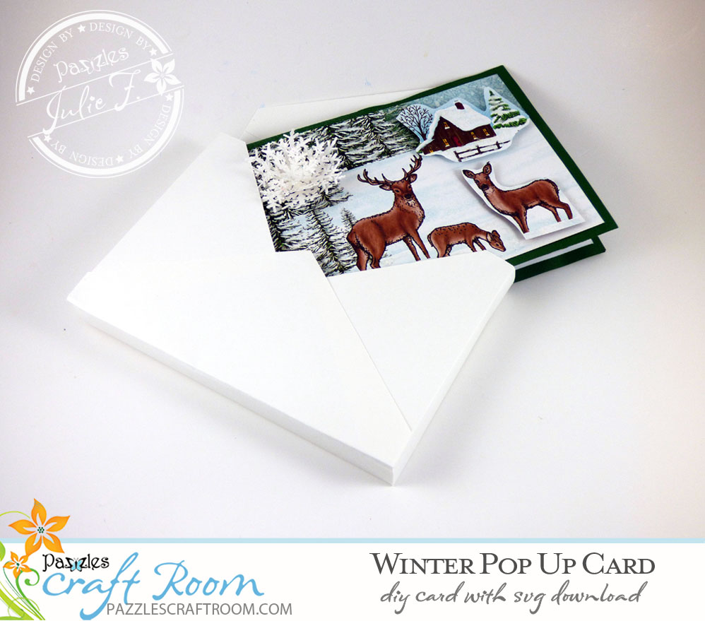 Pazzles DIY Winter Pop Up Card with instant SVG download. Compatible with all major electronic cutters including Pazzles Inspiration, Cricut, and Silhouette Cameo. Design by Julie Flanagan.