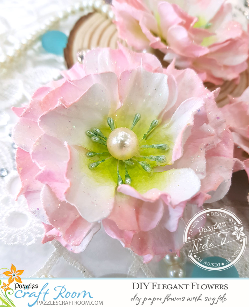 Pazzles Elegant DIY Paper Flowers with instant SVG download. Compatible with all major electronic cutters including Pazzles Inspiration, Cricut, and Silhouette Cameo. Design by Nida Tanweer.
