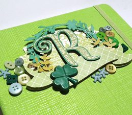 Pazzles DIY Embellished Journal Notebook with instant SVG download. Perfect for St. Patrick's Day. Compatible with all major electronic cutters including Pazzles Inspiration, Cricut, and Silhouette Cameo. Design by Renee Smart.