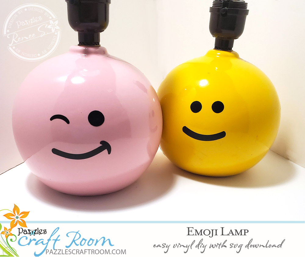 Pazzles DIY Emoji Lamp beginner friendly vinyl project with SVG download.  Instant SVG download compatible with all major electronic cutters including Pazzles Inspiration, Cricut, and Silhouette Cameo. Design by Renee Smart