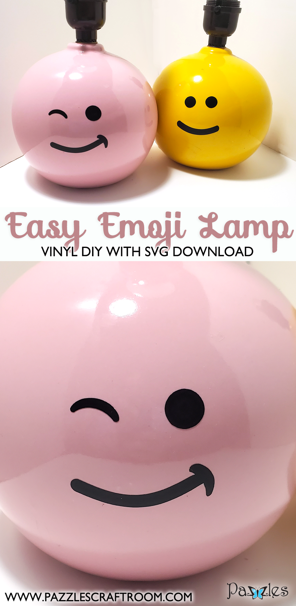 Pazzles DIY Emoji Lamp beginner-friendly vinyl project with SVG download.  Instant SVG download compatible with all major electronic cutters including Pazzles Inspiration, Cricut, and Silhouette Cameo. Design by Renee Smart