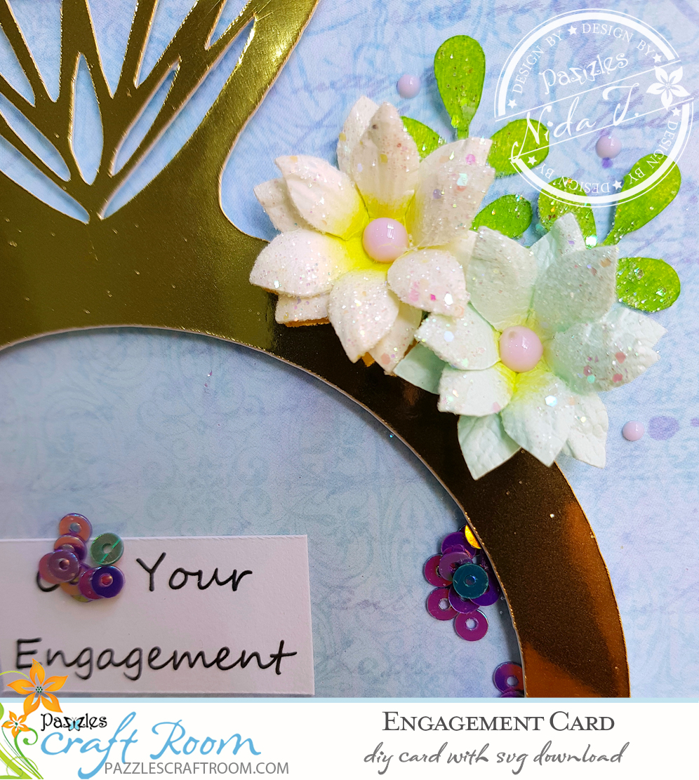 Pazzles DIY Engagement Card or Wedding Card with instant SVG download. Compatible with all major electronic cutters including Pazzles Inspiration, Cricut, and Silhouette Cameo. Design by Nida Tanweer.