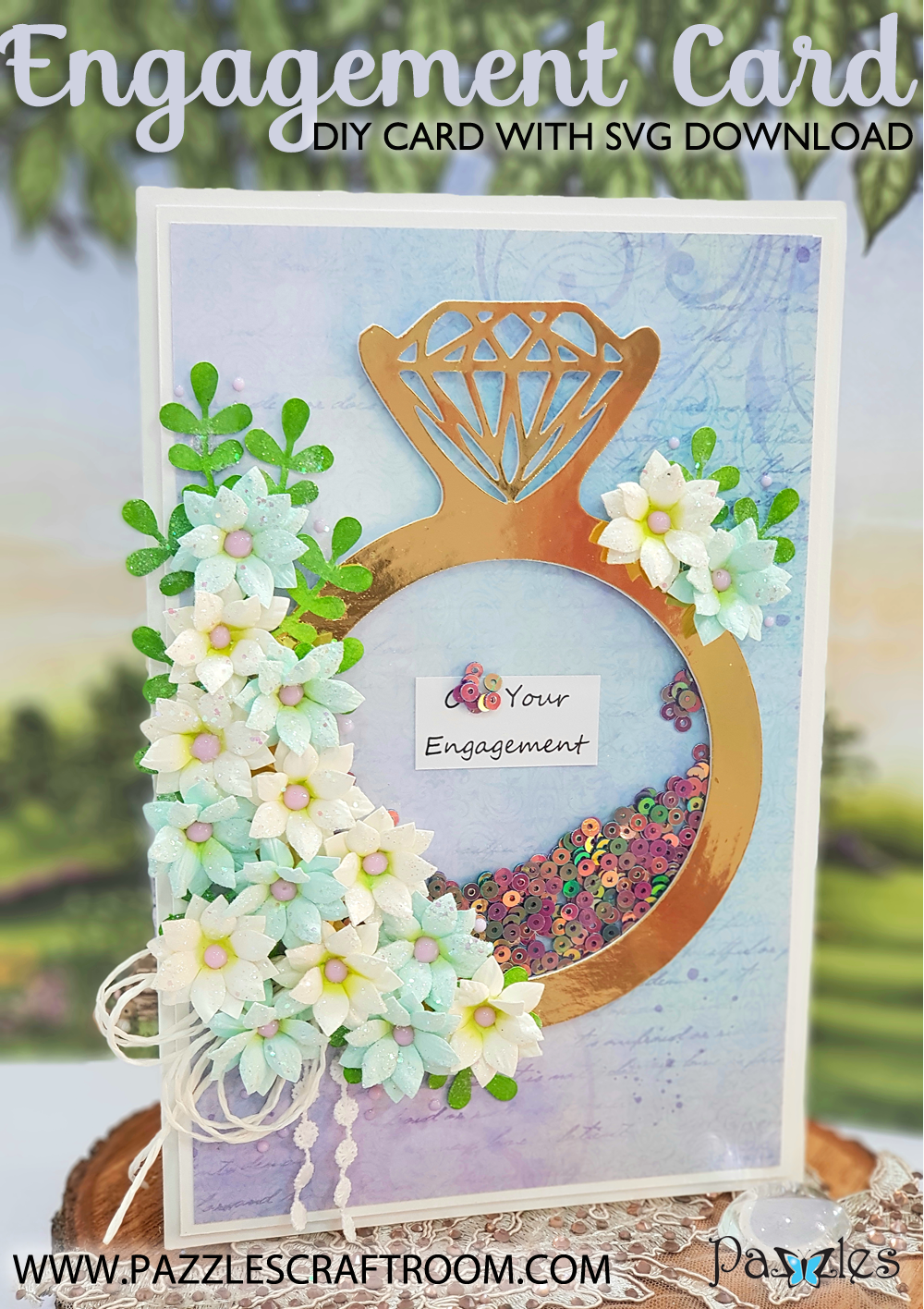 Pazzles DIY Engagement Card or DIY Wedding Card with instant SVG download. Compatible with all major electronic cutters including Pazzles Inspiration, Cricut, and Silhouette Cameo. Design by Nida Tanweer.