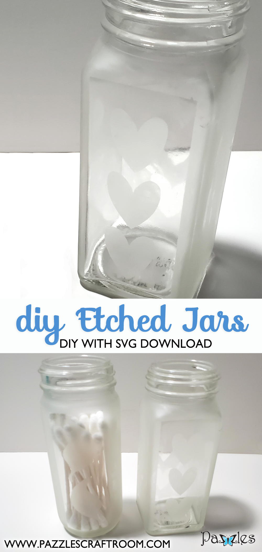 Pazzles DIY Etched Jars Upcycle with instant SVG download.  Instant SVG download compatible with all major electronic cutters including Pazzles Inspiration, Cricut, and Silhouette Cameo. Design by Renee Smart.