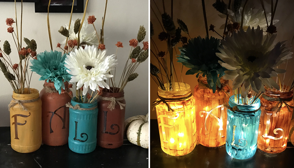 Fall light up jars pazzles craft room