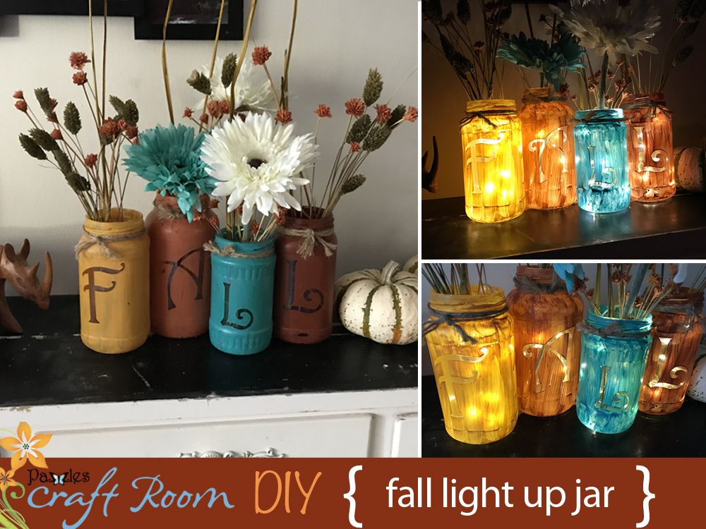 I love fall and would have my home decorated this way year round if possible but i also like quick and easy projects this jar decoration is very easy and