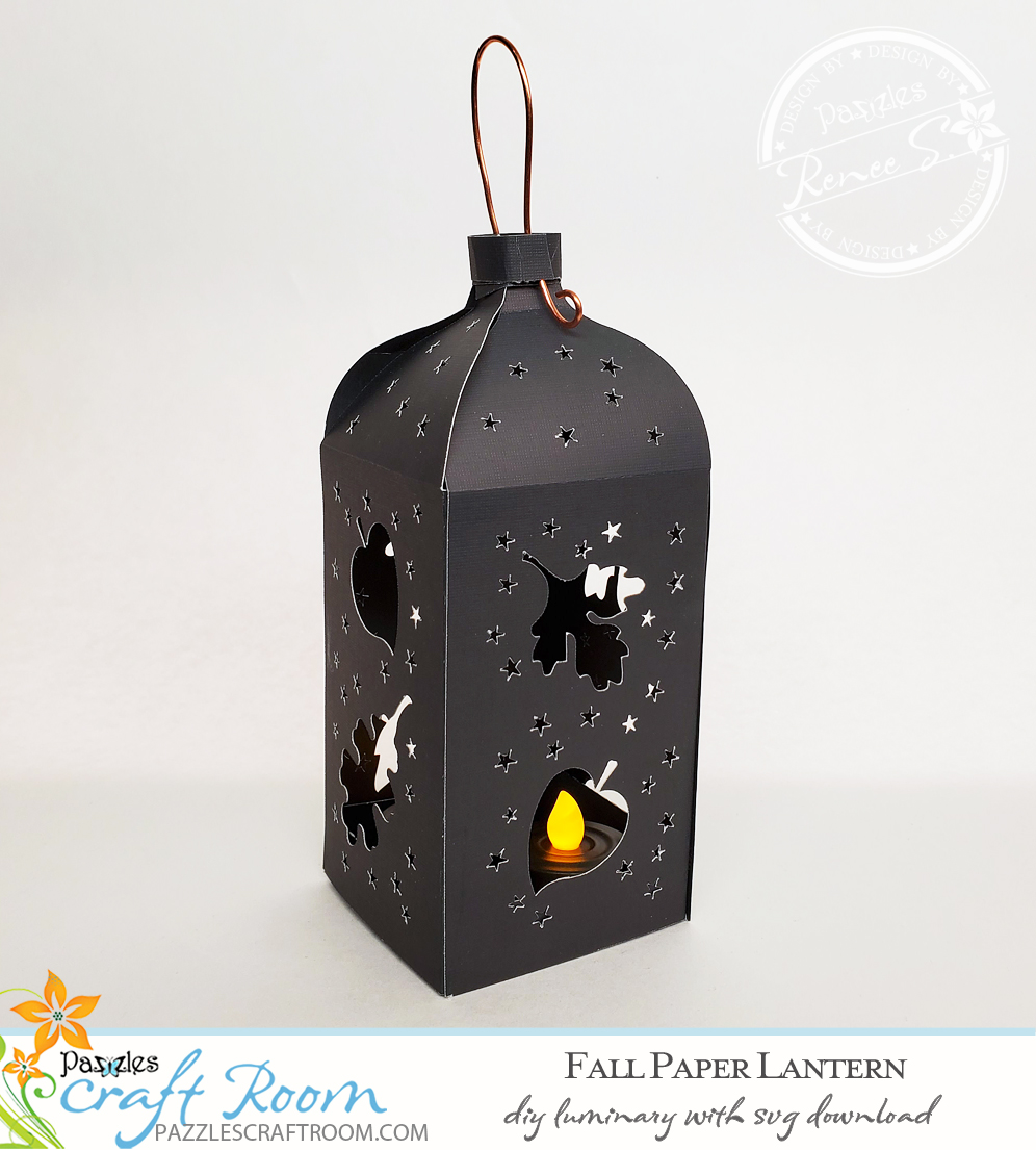 Pazzles DIY Fall Paper Lantern with instant SVG download. Compatible with all major electronic cutters including Pazzles Inspiration, Cricut, and Silhouette Cameo. Design by Renee Smart.