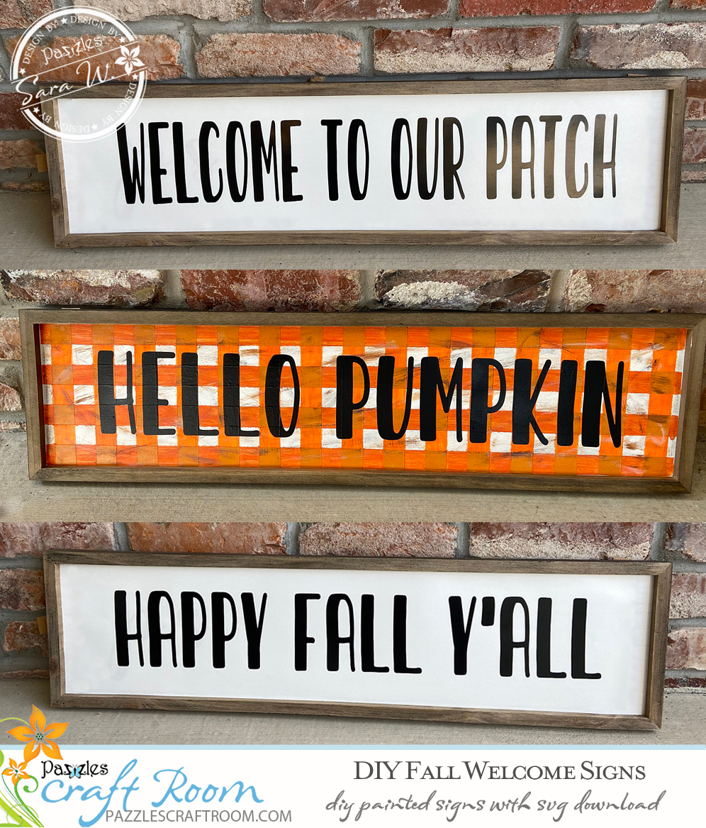 Pazzles DIY Fall Welcome Signs with instant SVG download. Compatible with all major electronic cutters including Pazzles Inspiration, Cricut, and Silhouette Cameo. Design by Sara Weber.