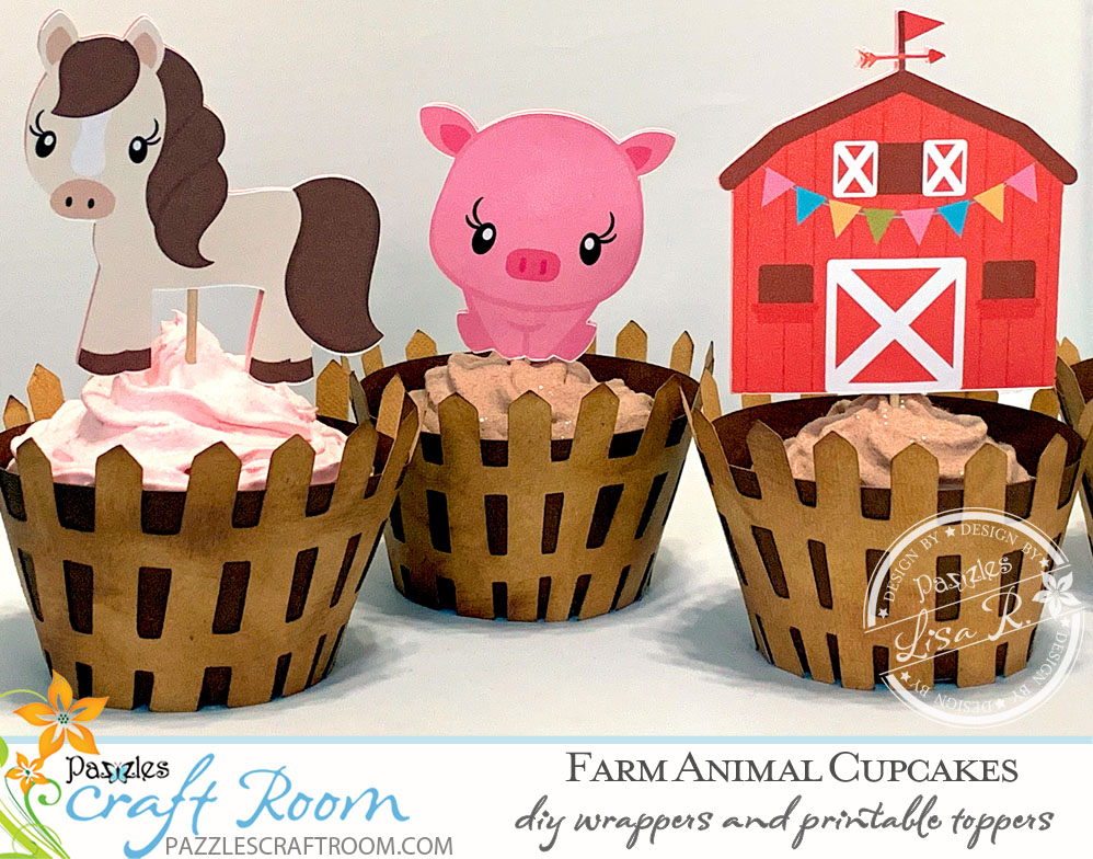 Pazzles DIY Farm Animal Cupcakes with Wrappers and Printable Topper: Horse, Pig, barn, chick, and cow by Lisa Reyna