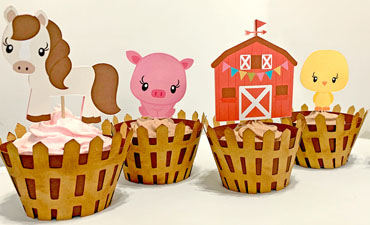 Pazzles DIY Farm Animal Cupcakes with Wrappers and Printable Topper: Horse, Pick, barn, chick, and cow by Lisa Reyna