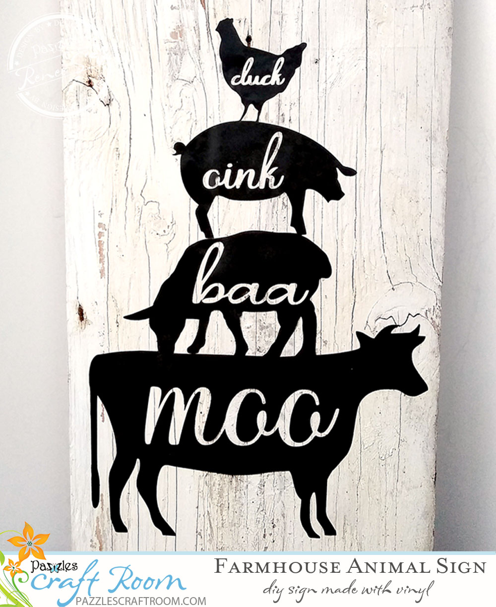 Pazzles DIY Animal Stack Farmhouse Sign by Renee Smart