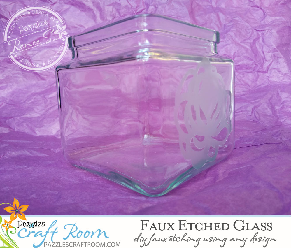 Pazzles DIY Faux Etched Glass with SVG download compatible with all major electronic cutters including Pazzles Inspiration, Cricut, and Silhouette Cameo by Renee Smart