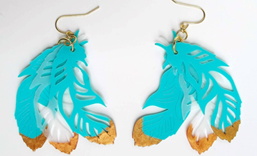 Pazzles DIY Feather Earrings with instant SVG download. Compatible with all major electronic cutters including Pazzles Inspiration, Cricut, and Silhouette Cameo. Design by Renee Smart.