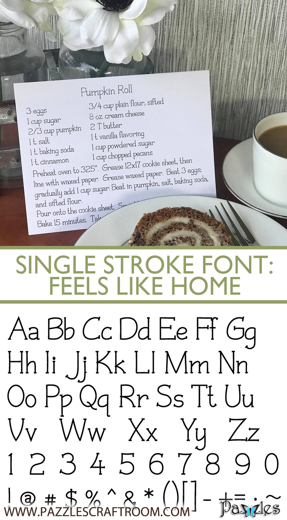 Pazzles DIY Feels Like Home Single Stroke Font or Single Line Font for crafting and engraving by Leslie Peppers