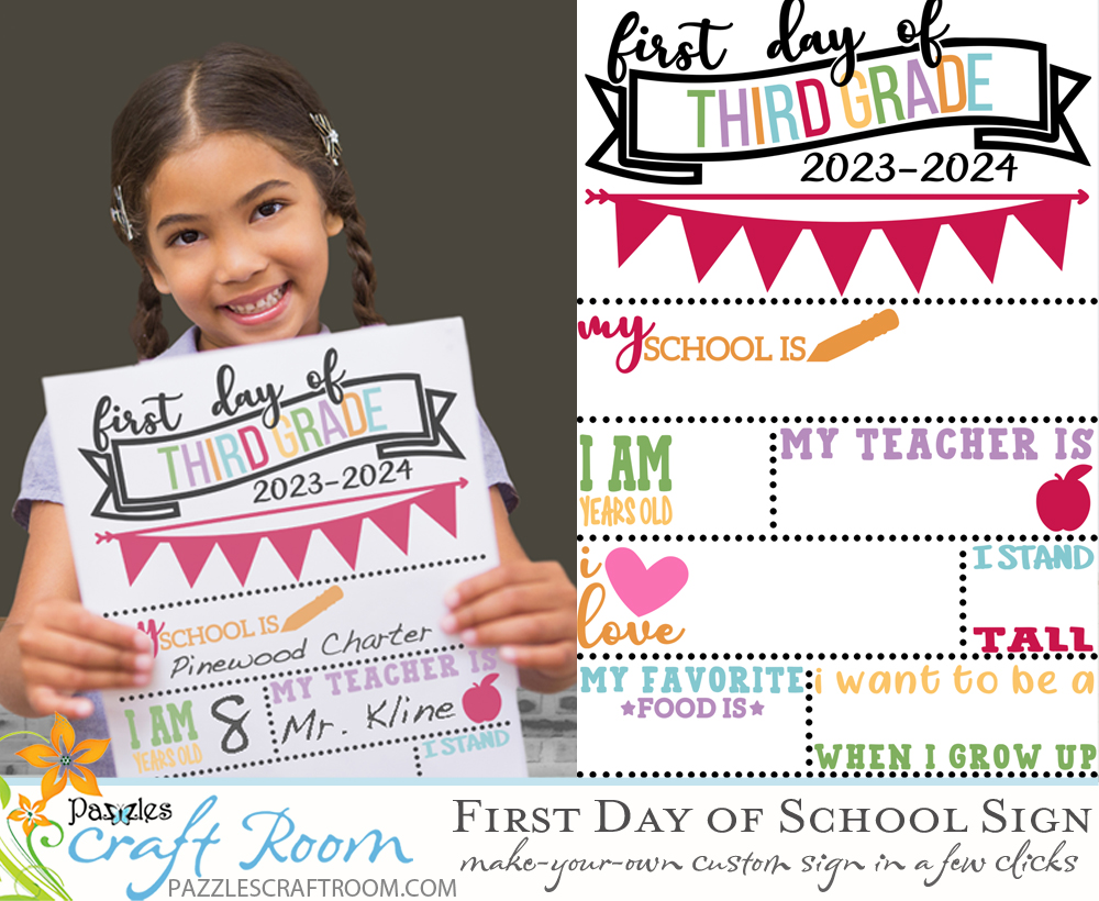 Quick and Easy First Day of School Sign - Customize and Print