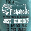 Pazzles DIY Fishaholic Fishing T-shirt with instant SVG download. Instant SVG download compatible with all major electronic cutters including Pazzles Inspiration, Cricut, and Silhouette Cameo. Design by Sara Weber.