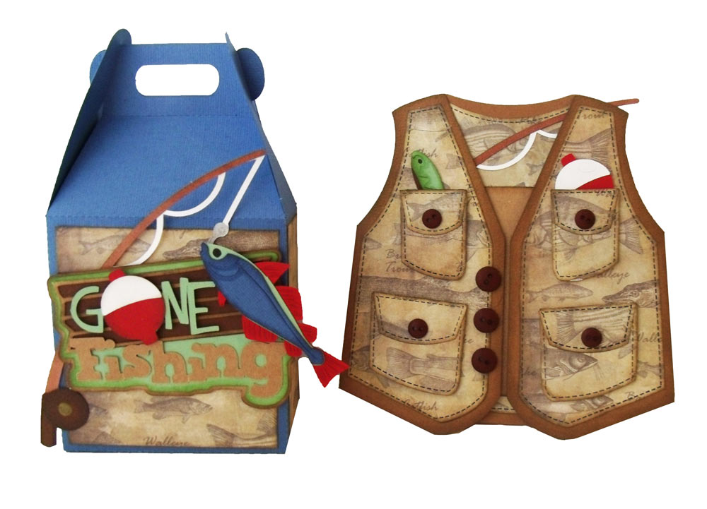 Masculine Fishing Gift Box and Fishing Vest Card