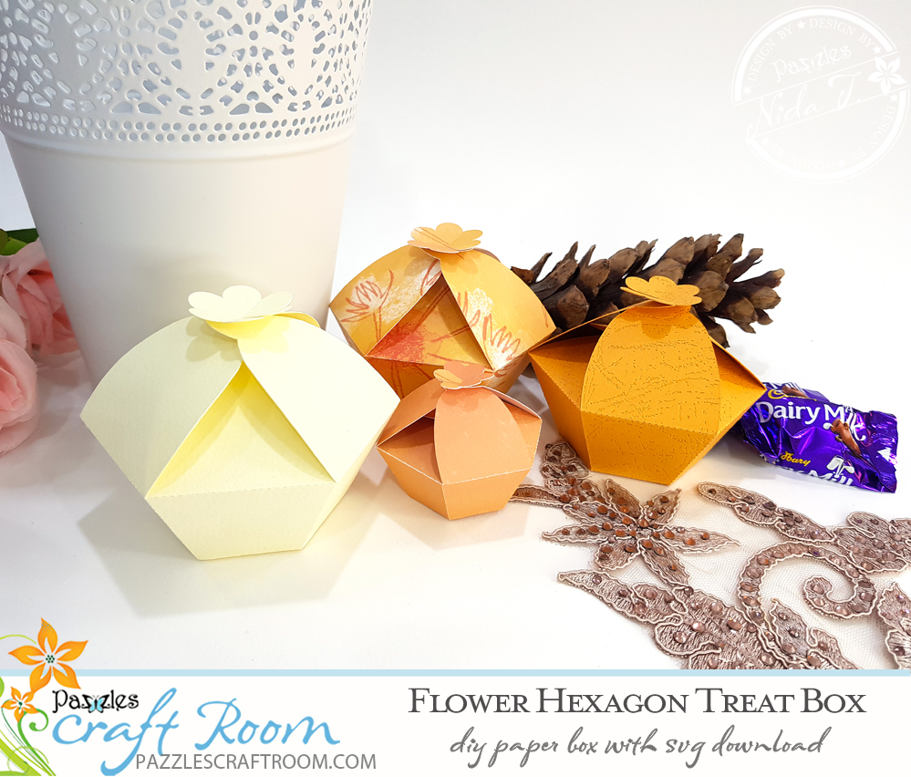 Pazzles DIY Flower Hexagon Treat Box. Instant SVG download compatible with all major electronic cutters including Pazzles Inspiration, Cricut, and Silhouette Cameo. Design by Nida Tanweer.