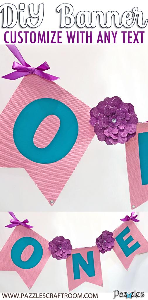 Pazzles DIY Custom Flower Pennant Banner Bunting by Lisa Reyes