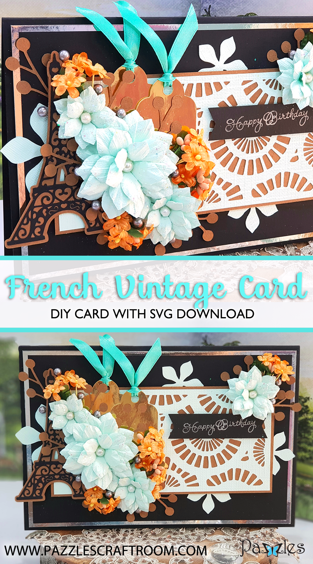 Pazzles DIY French Vintage Card for birthday with instant SVG download. Compatible with all major electronic cutters including Pazzles Inspiration, Cricut, and Silhouette Cameo. Design by Nida Tanweer.
