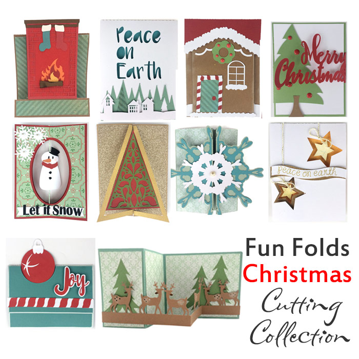 Fun Folds Christmas set of 10 unique folds cards with Christmas themes. Cut files and instructions from Pazzles. Available for sale in WPC, SVG and AI.