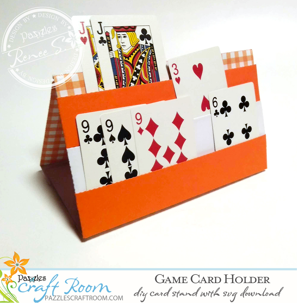 Pazzles DIY Game Card Holder with instant SVG download. Compatible with all major electronic cutters including Pazzles Inspiration, Cricut, and SIlhouette Cameo. Design by Renee Smart.