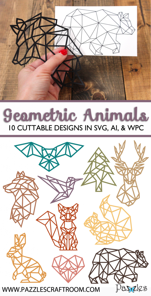 Pazzles geometric woodland animals SVG collection with instant download. Available in AI, SVG, and WPC. Compatible with all major electronic cutters including Pazzles Inspiration, Cricut, and Silhouette Cameo.