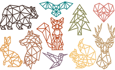 Pazzles SVG instant download collection of geometric woodland animals. Available in AI, SVG, and WPC. Compatible with all major electronic cutters including Pazzles Inspiration, Cricut, and Silhouette Cameo.