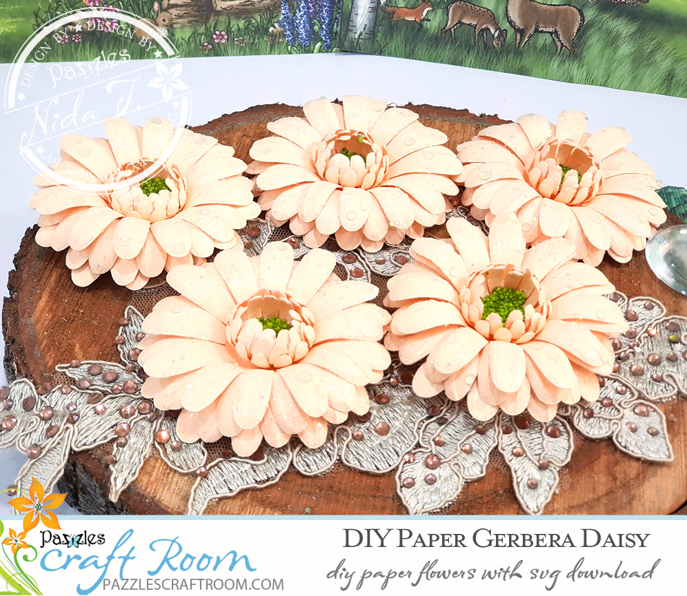 Pazzles DIY Paper Gerbera Daisy with instant SVG download. Compatible with all major electronic cutters including Pazzles Inspiration, Cricut, and Silhouette Cameo. Design by Nida Tanweer.