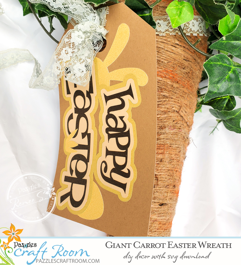 Pazzles DIY Giant Carrot Easter Wreath with instant SVG download. Instant SVG download compatible with all major electronic cutters including Pazzles Inspiration, Cricut, and Silhouette Cameo. Design by Renee Smart.