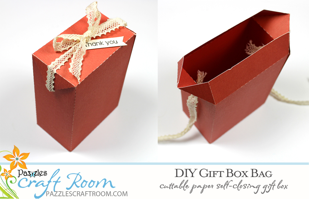 Pazzles DIY Gift Box Bag. Instant SVG download compatible with all major electronic cutters including Pazzles Inspiration, Cricut, and Silhouette Cameo. Design by Amanda Vander Woude.