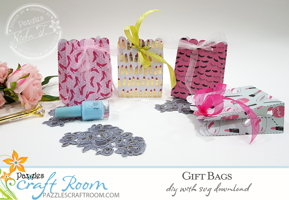 Pazzles DIY Gift Bag with instant SVG download. Instant SVG download compatible with all major electronic cutters including Pazzles Inspiration, Cricut, and Silhouette Cameo. Design by Nida Tanweer.