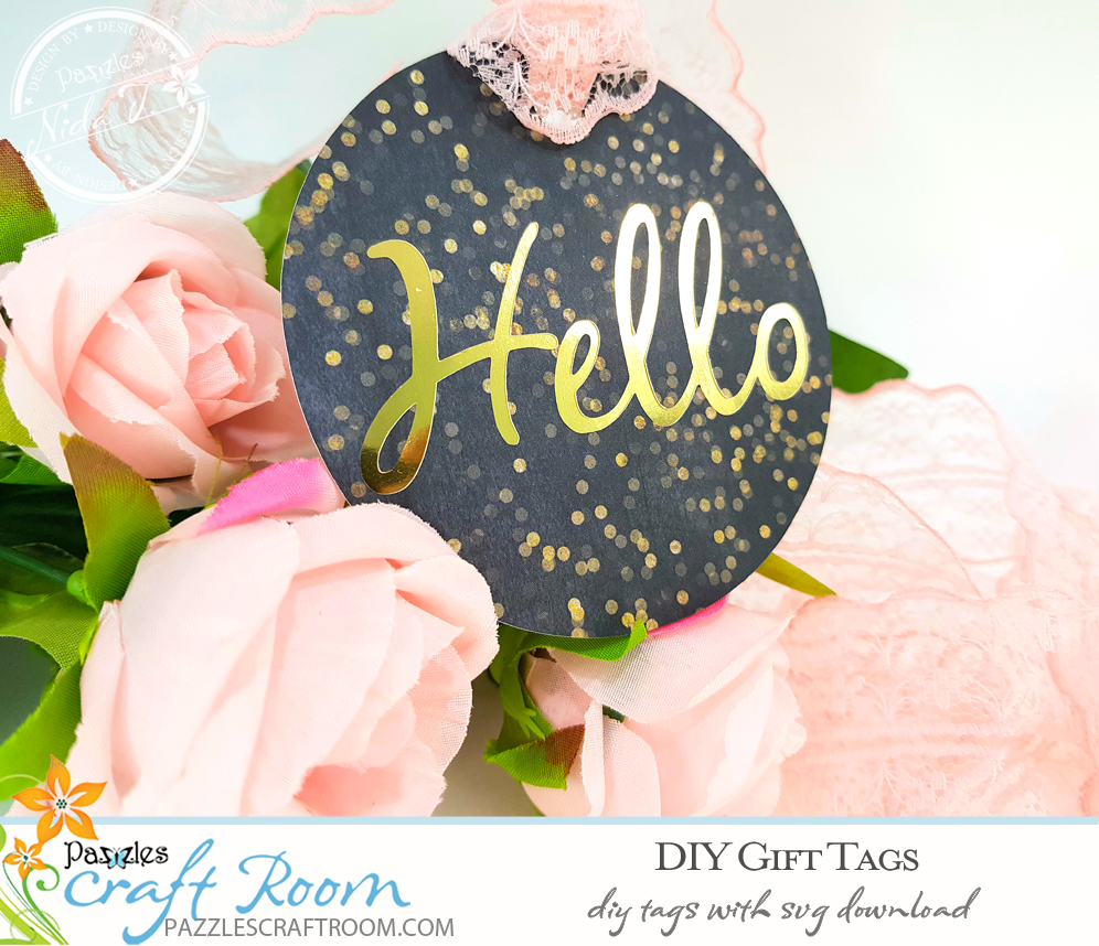 Pazzles DIY Gift Tag Set with instant SVG download. Compatible with all major electronic cutters including Pazzles Inspiration, Cricut, and Silhouette Cameo. Design by Nida Tanweer.