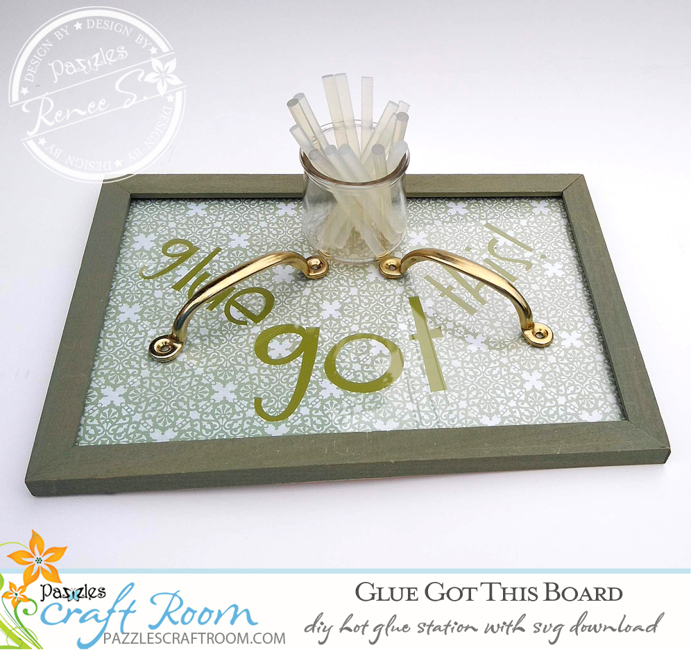 Pazzles DIY Hot Glue Station with instant SVG download. Compatible with all major electronic cutters including Pazzles Inspiration, Cricut, and Silhouette Cameo. Design by Renee Smart.
