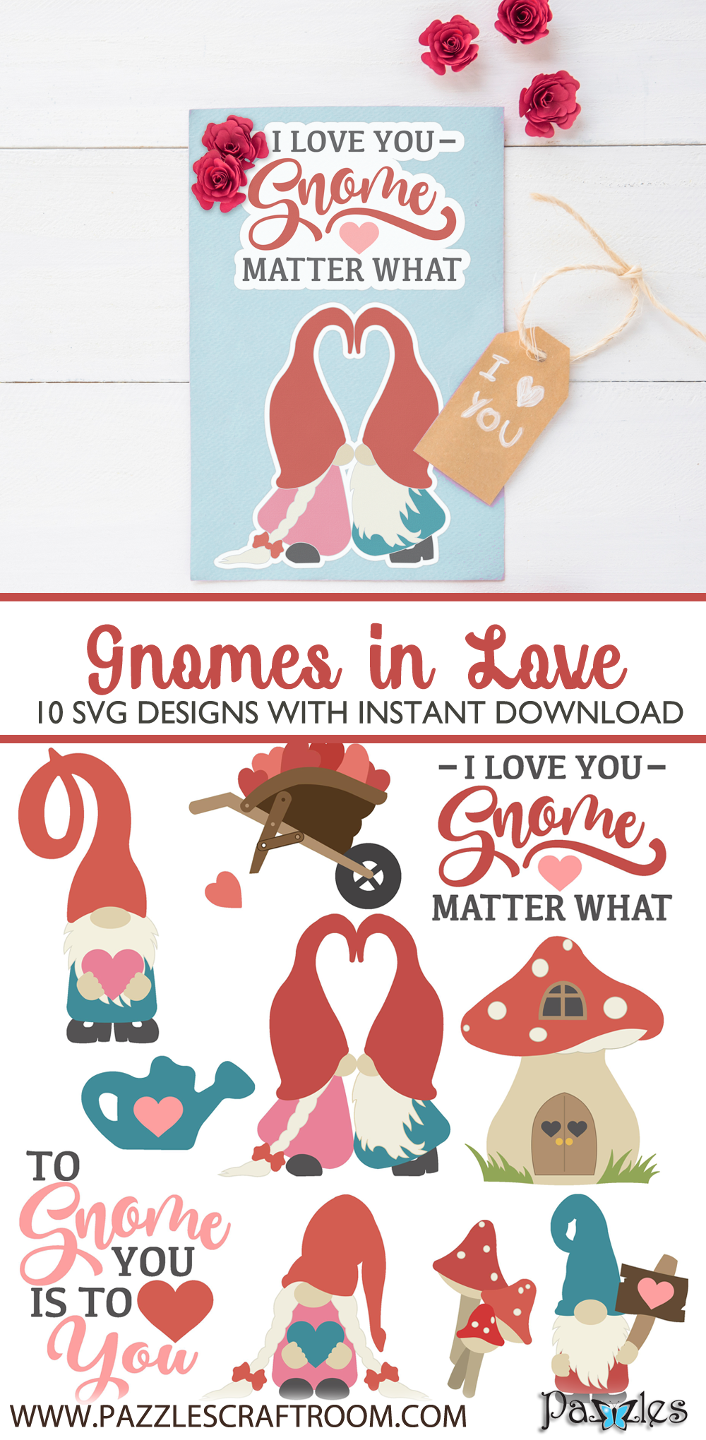 Pazzles Gnomes in Love SVG Collection of 10 Valentine's Day Gnomes in SVG, AI, and WPC. Instant download compatible with all major electronic cutters including Pazzles Inspiration, Cricut, and Silhouette Cameo. Design by Amanda Vander Woude.