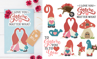 Pazzles Gnomes in Love Collection of 10 Valentine's Day Gnomes in SVG, AI, and WPC. Instant download compatible with all major electronic cutters including Pazzles Inspiration, Cricut, and Silhouette Cameo. Design by Amanda Vander Woude.