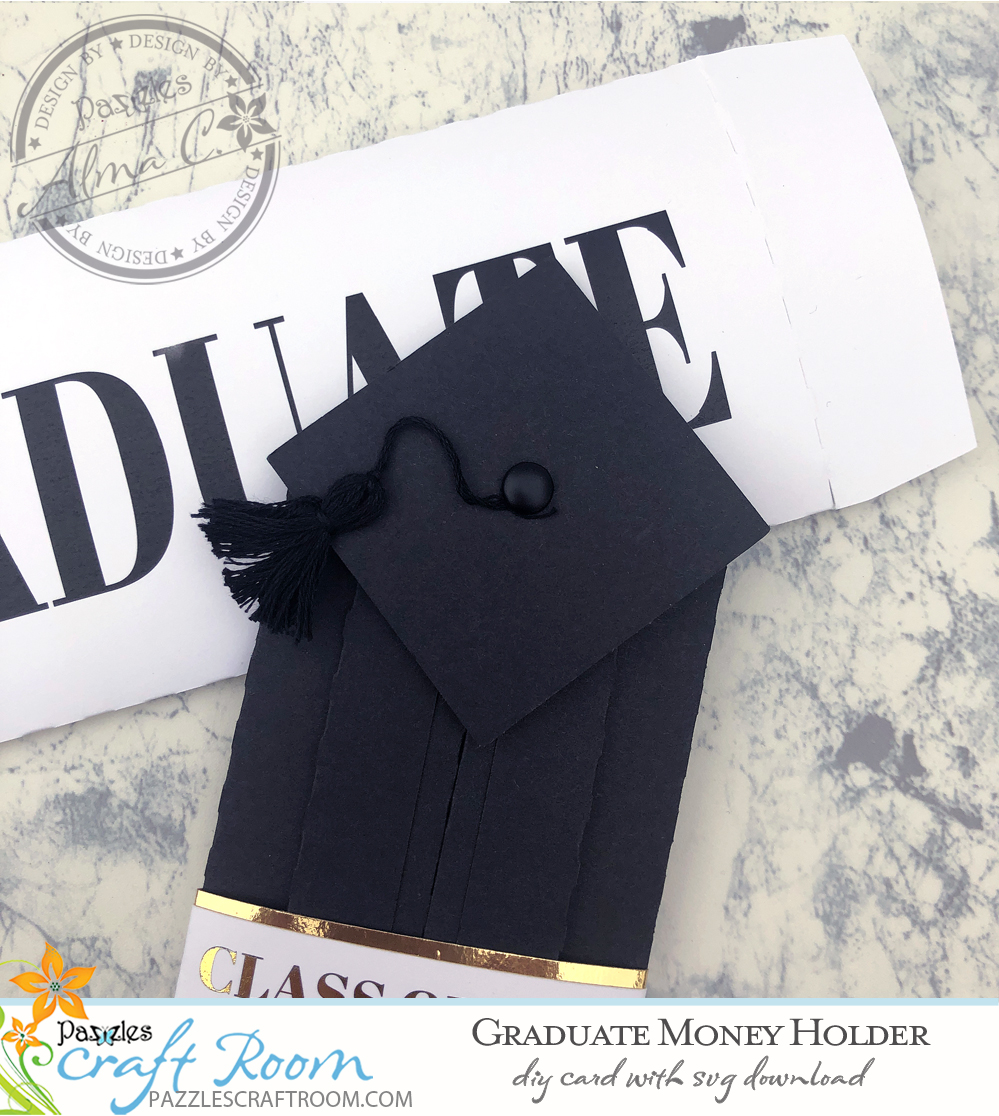Pazzles DIY Graduate Money Holder with instant SVG download. Instant SVG download compatible with all major electronic cutters including Pazzles Inspiration, Cricut, and Silhouette Cameo. Design by Alma Cervantes.