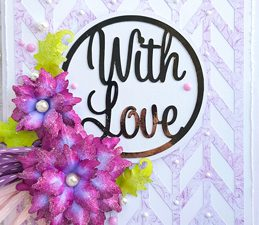 Pazzles DIY Greetings With Love Card with paper flowers. SVG download compatible with all major electronic cutters including Pazzles Inspiration, Cricut, and SIlhouette Cameo. Design by Nida Tanweer.