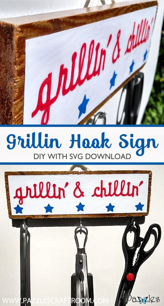 Pazzles DIY Grilling Hook Sign for Outdoors with instant SVG download. Compatible with all major electronic cutters including Pazzles Inspiration, Cricut, and Silhouette Cameo. Design by Renee Smart.
