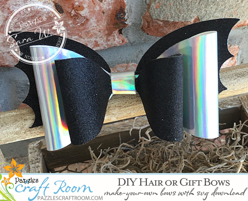 Pazzles DIY Bows for Hair or Gifts. Cut in Paper, Felt, Foam or Faux Leather. Instant SVG download compatible with Pazzles Inspiration, Cricut, and Silhouette Cameo. Project by Sara Weber.