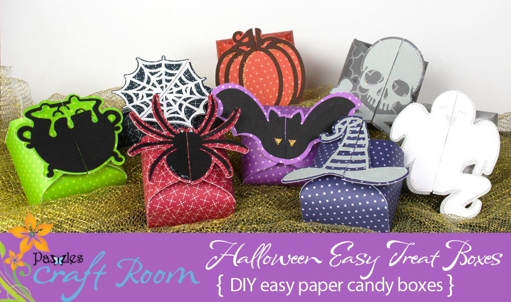 Pazzles DIY Easy Halloween Treat Boxes: bat, cauldron, witch hat, pumpkin, ghost, spider, spiderweb and skull and crossbones by Amanda Vander Woude
