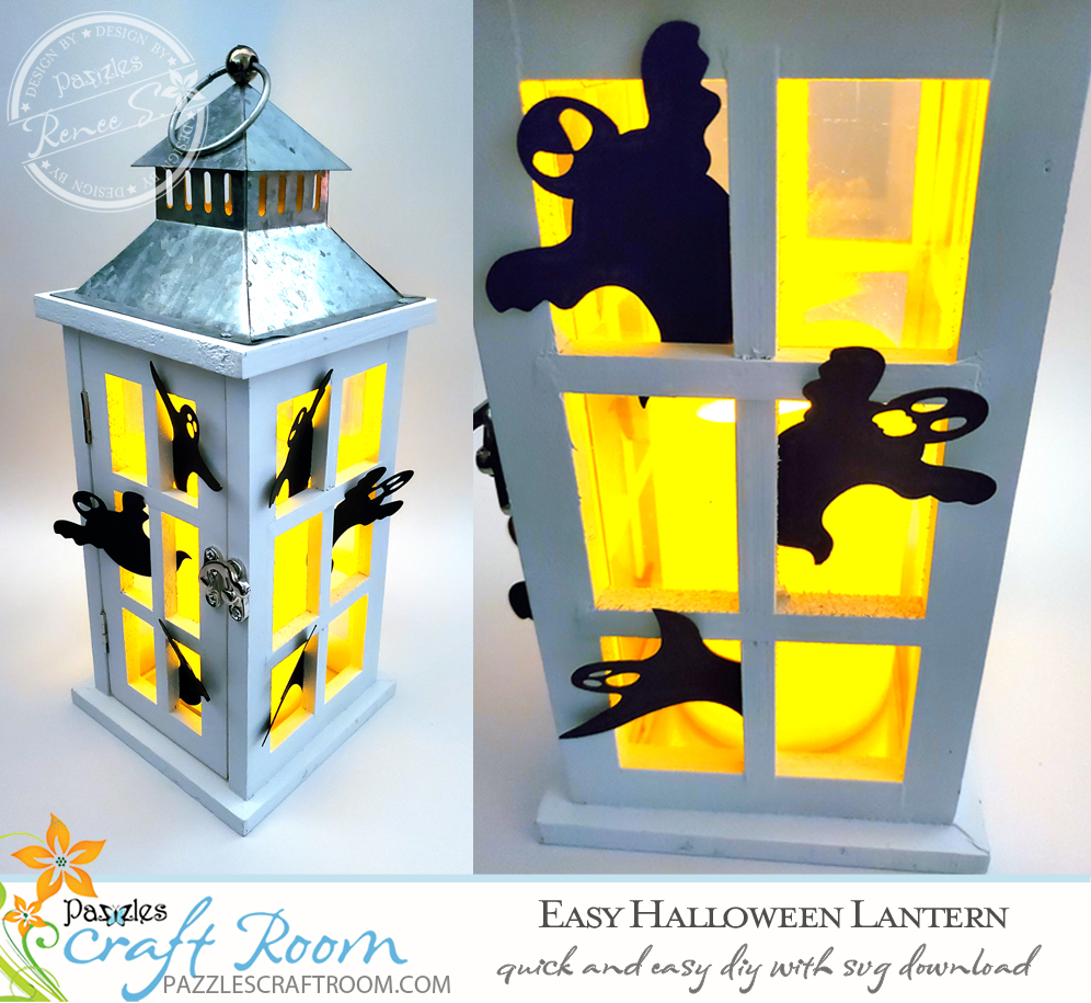 Pazzles Easy DIY Halloween Lantern with instant SVG download. Compatible with all major electronic cutters including Pazzles Inspiration, Cricut, and Silhouette Cameo. Design by Renee Smart.