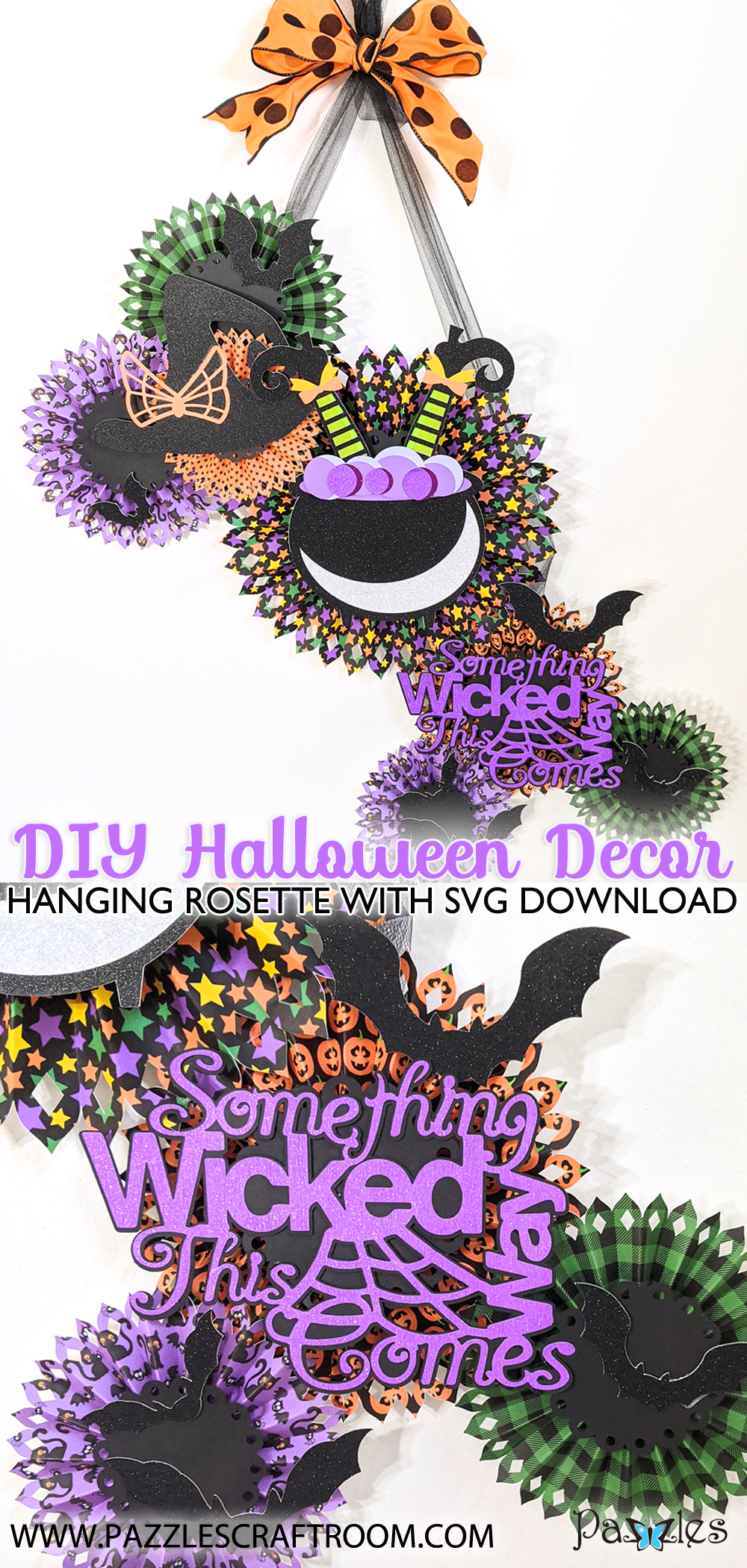 Pazzles DIY Halloween Rosette Hanging Decor with instant SVG download. Compatible with all major electronic cutters including Pazzles Inspiration, Cricut, and Silhouette Cameo. Design by Monica Martinez.