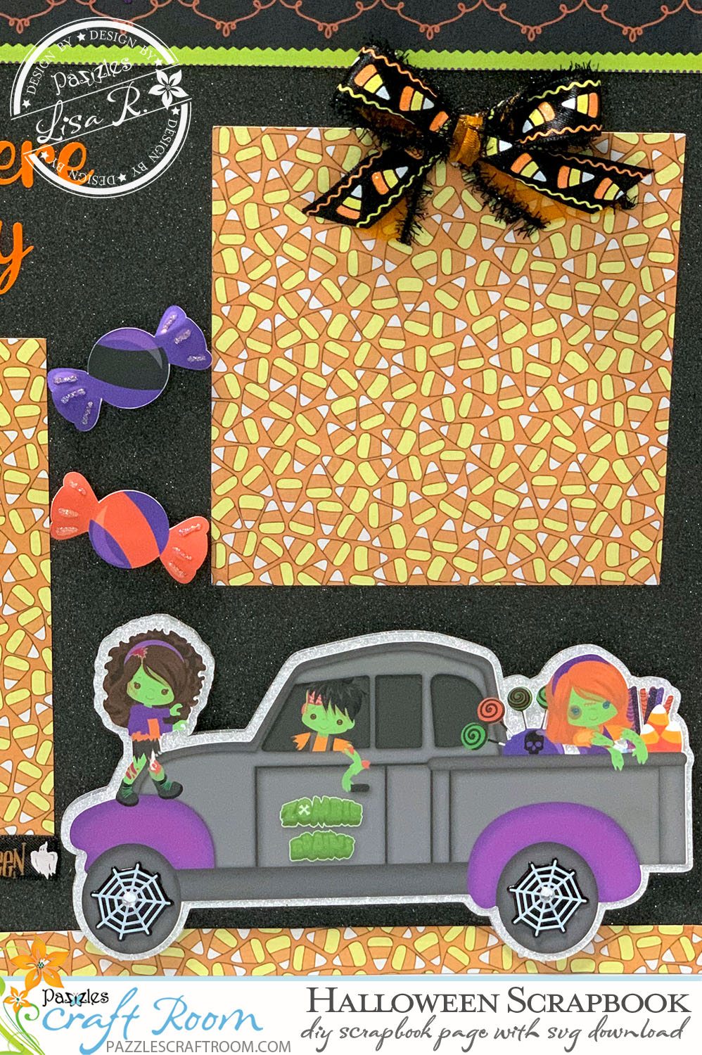 Pazzles DIY Halloween Scrapbook Page with SVG Download for Pazzles, Silhouette Cameo, and Cricut by Lisa Reyna