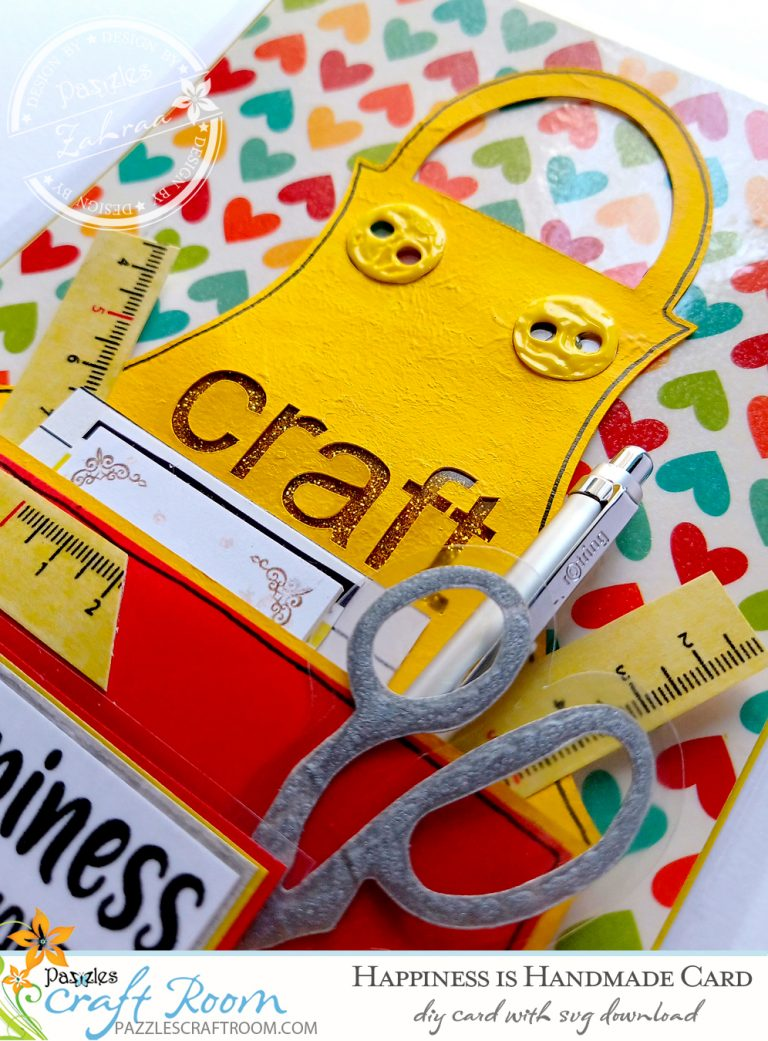 diy happiness is handmade apron card with svg download